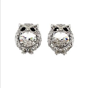 Silver mini cute owl crystal earrings